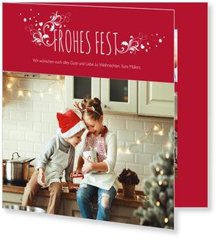 Aktuelle Weihnachtskarten, Frohes Fest in Rot