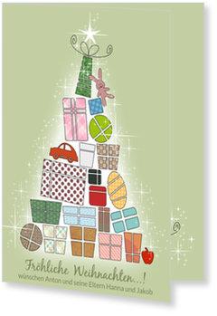 Aktuelle Weihnachtskarten, Gabenbaum in Grün