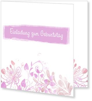 Einladungskarten Geburtstag, Aquarell in Rosa