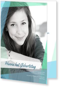 Einladungskarten Geburtstag, Collage in Blau