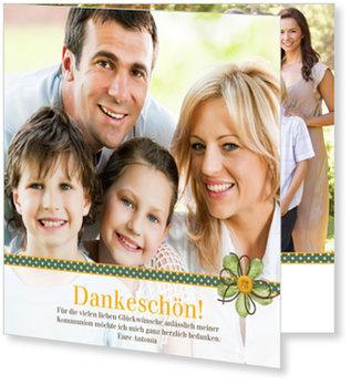 Danksagungskarten Kommunion, Geschenkband in Grün