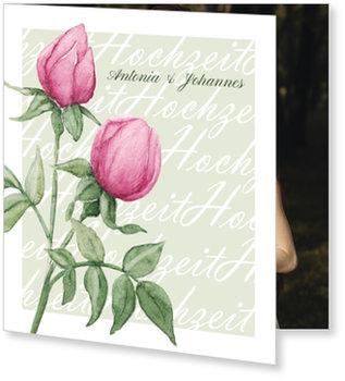 Einladungskarten Hochzeit, Rosenduo