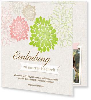 Einladungskarten Hochzeit, Blühend