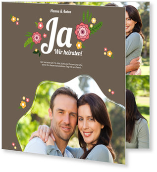 Einladungskarten Hochzeit, Blumenhochzeit