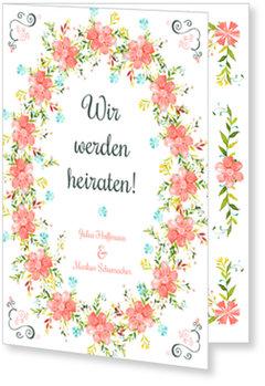 Einladungskarten Hochzeit, Blumentraum