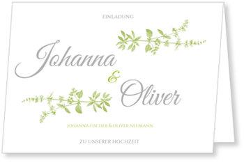 Einladungskarten Hochzeit, Botanisch in Grün