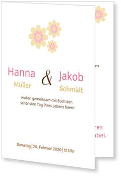 Einladungskarten Hochzeit, Blümchen