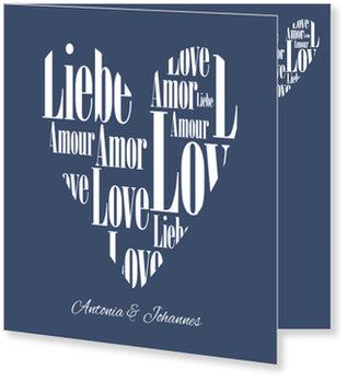 Einladungskarten Hochzeit, Herz aus Liebe in Blau