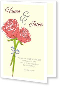 Einladungskarten Hochzeit, Stilvolle Rosen