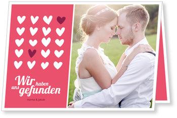 Einladungskarten Hochzeit, Wir haben uns gefunden in Rot