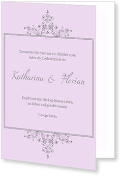 Einladungskarten Hochzeit, Elegante Zeit