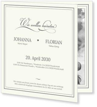 Einladungskarten Hochzeit, Elegantes Beige