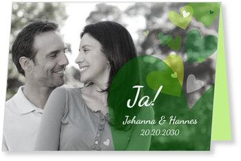 Einladungskarten Hochzeit, Es soll Herzen regnen in Grün
