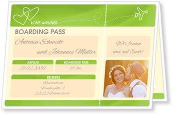 Einladungskarten Hochzeit, Flugticket in Grün