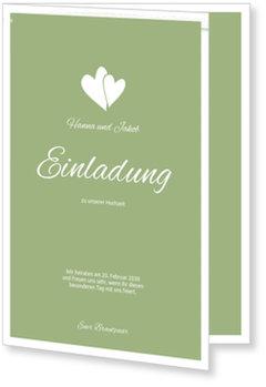 Einladungskarten Hochzeit, Herzpärchen in Grün
