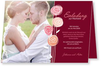 Einladungskarten Hochzeit, Hochzeitsröschen