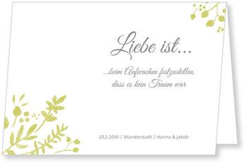 Einladungskarten Hochzeit, Liebe ist... in Grün