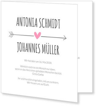 Einladungskarten Hochzeit, Liebespfeil in Rosa