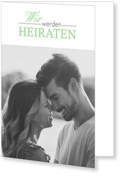 Einladungskarten Hochzeit, Romantische Schrift in Grün