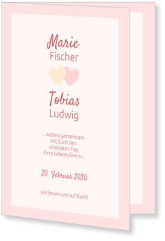 Einladungskarten Hochzeit, Verliebte Herzen