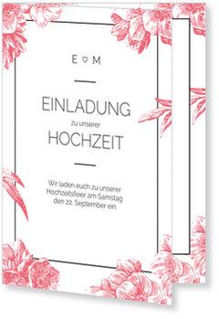 Einladungskarten Hochzeit, Vintage flowers