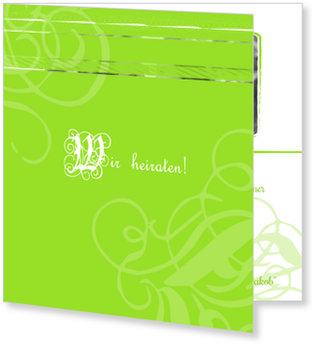 Einladungskarten Hochzeit, Zeitreise in Grün