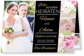 Einladungskarten Hochzeit, Wir werden heiraten in Schwarz
