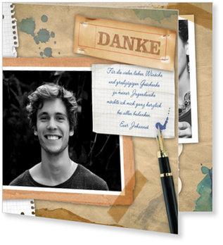 Danksagungskarten Jugendweihe selbst gestalten, Retropaper