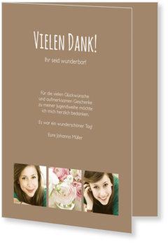 Danksagungskarten Jugendweihe selbst gestalten, Schlichte Eleganz in Braun