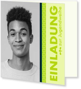 Einladungskarten Jugendweihe, Grüne Streifen