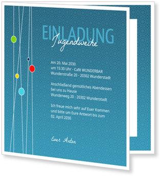 Einladungskarten Jugendweihe, Kreise in Blau