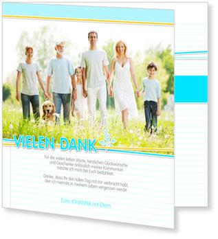 Danksagungskarten Kommunion, Kleine Dankesblume in Blau