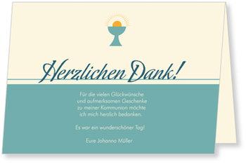 Danksagungskarten Kommunion, Heiliger Kelch in Blau