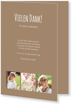 Danksagungskarten Kommunion, Schlichte Eleganz in Braun