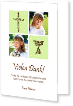 Danksagungskarten Kommunion, Symbole mit Ornamenten