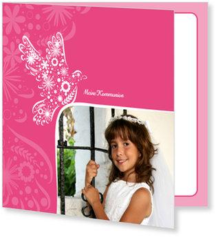 Einladungskarten Kommunion, Frühlingstäubchen in Pink