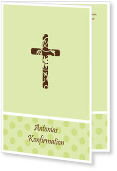 Einladungskarten Konfirmation, Kreuz mit grünen Pünktchen