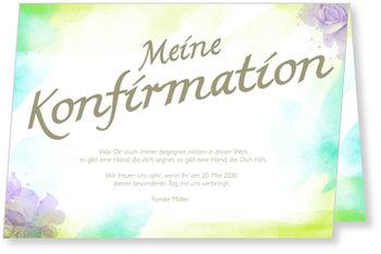 Einladungskarten Konfirmation, Aquarell Ornamente