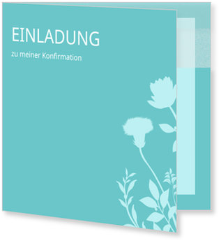Einladungskarten Konfirmation, Blumenzierde in Blau
