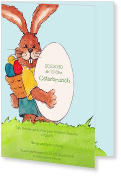 Osterkarten selbst gestalten, Hase mit Ei