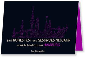 Neujahrskarten, Skyline - Hamburg