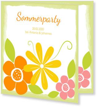 Einladungskarten Sommerfest, Sommerblumen in Grün
