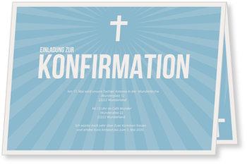 Einladungskarten Konfirmation, Strahlendes Kreuz in Himmelblau