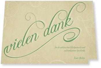 Allgemeine Dankeskarten, Typo in Grün