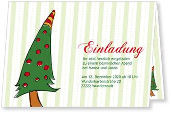 Einladung Weihnachtsfeier, Weihnachtsbaum mit grünen Streifen
