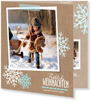 Aktuelle Weihnachtskarten, Zwei Flocken in Mint