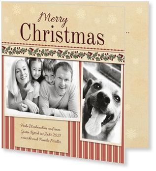 Aktuelle Weihnachtskarten, Bordüre in Rot
