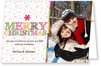 Aktuelle Weihnachtskarten, Bunte Buchstaben