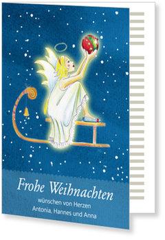 Aktuelle Weihnachtskarten, Engel mit Schlitten