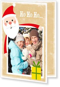 Aktuelle Weihnachtskarten, Fröhlicher Weihnachtsmann in Braun